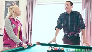 College chick loves playing billiards