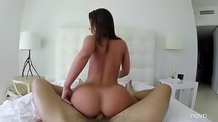 Juicy brunette is enjoying wild sex