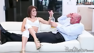 Bald man is banging the gorgeous lady
